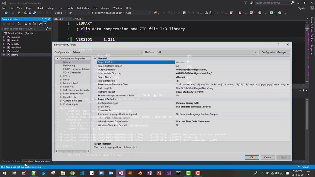Build zlib on windows using visual studio youtube.