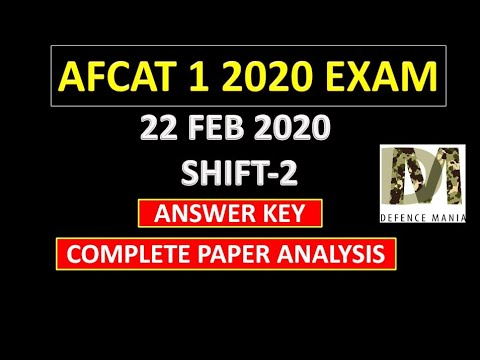 Afcat 1 2020 Exam 22 February shift 2 all Questions with answers