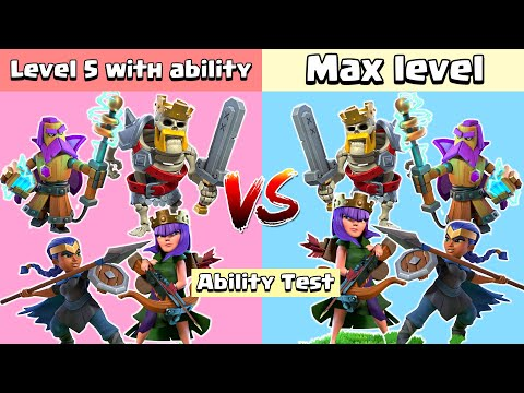 Level 5 Hero With Ability VS Max Level Heroes   Clash Of Clans