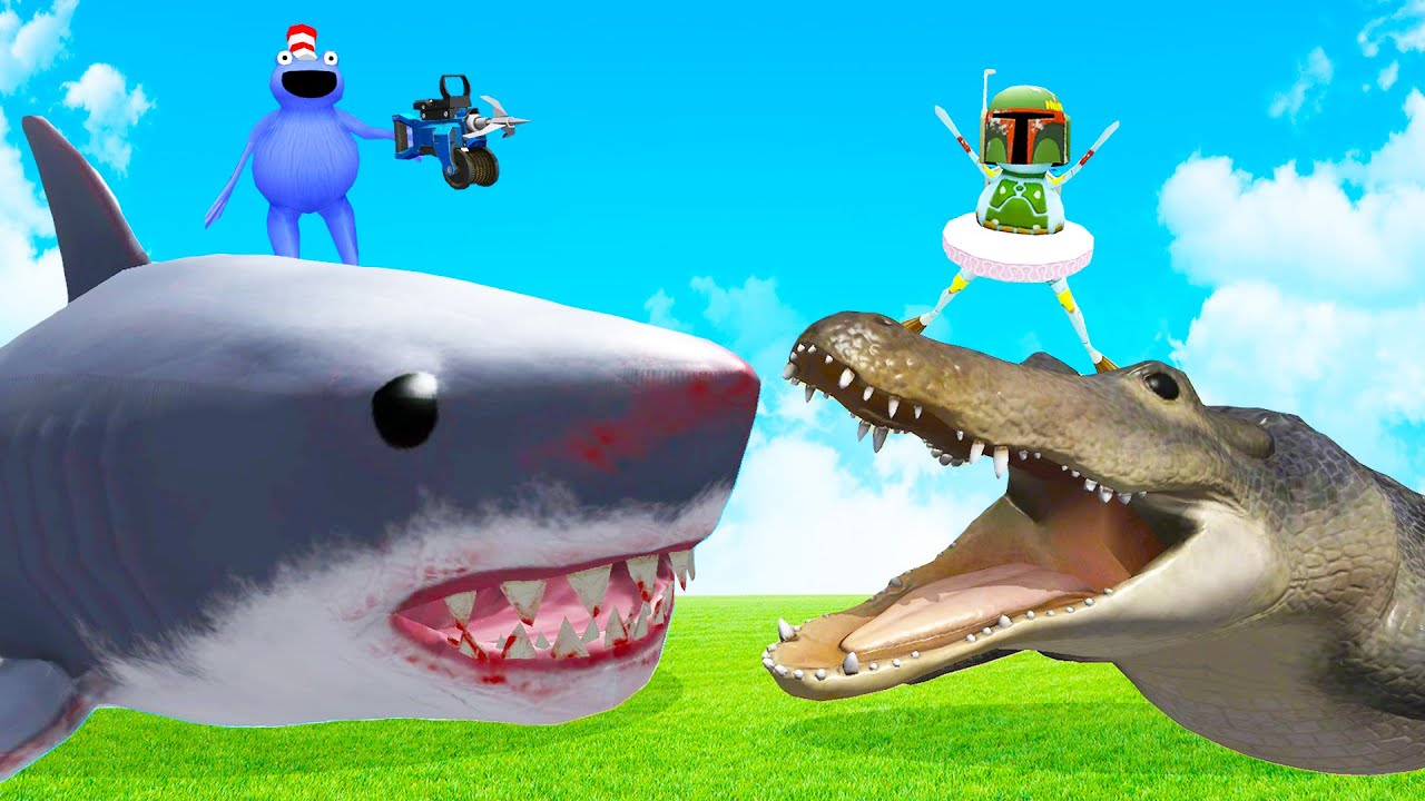 We Battled the Megalodon and the Giant Alligator in Amazing Frog Multiplayer!