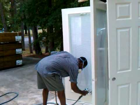 spraying latex semi gloss paint with the fuji hvlp great job. Black Bedroom Furniture Sets. Home Design Ideas