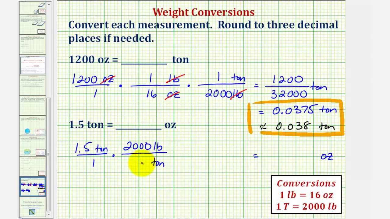 Ex: Weight Conversions: Tons to Ounces, Ounces to Tons - YouTube