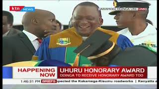 President Uhuru Kenyatta receives Doctorate Science Honor at 6th Jaramogi Odinga Universit in Bondo