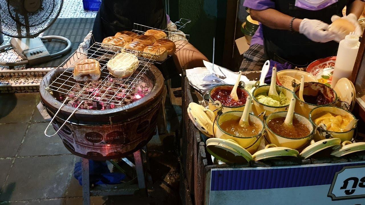 Jam Bread Toast on Charcoal Stove | Thailand Street Food