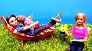 Гамак в саду Барби. Распаковка с Кеном и Штеффи. Жизнь Барби