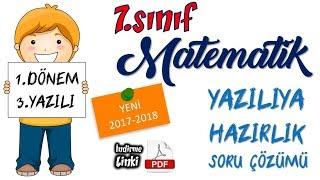 7.sınıf MATEMATİK 1.dönem 3.YAZILI Soru Çözümleri - 1 I 2017-2018 (YENİ)