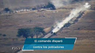 En la serie de videos, grabados desde un drón, se observan las camionetas con blindaje artesanal en las que viajaban los integrantes del Cártel Jalisco Nueva Generació
