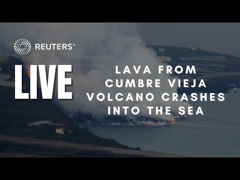 LIVE: View of La Palma coast as lava reaches sea