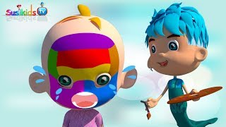 3D Face Painting - Baby Body Paint & Learn Colors with Finger Family Nursery Rhymes