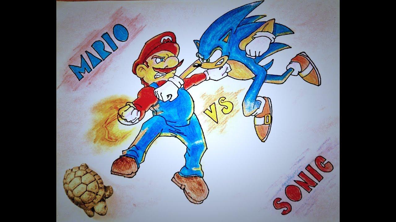 Dibujando a Mario vs SonicDrawing Mario vs Sonic  YouTube