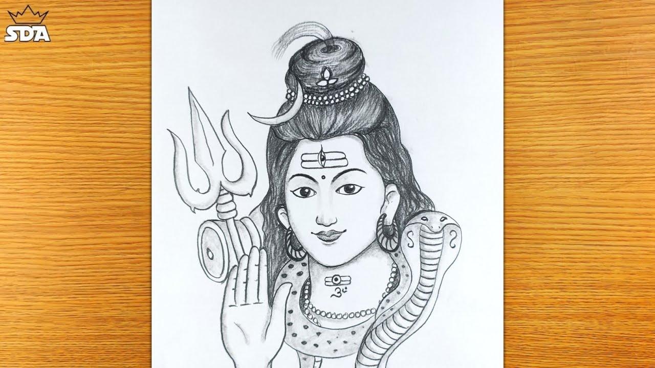Lord bholenath pencil drawing/lord mahadev drawing/bholenath drawing