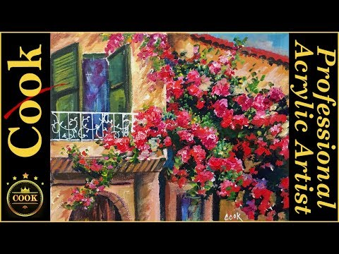 How to Paint Tuscany Balcony with Flowers for the Beginning Acrylic Artist