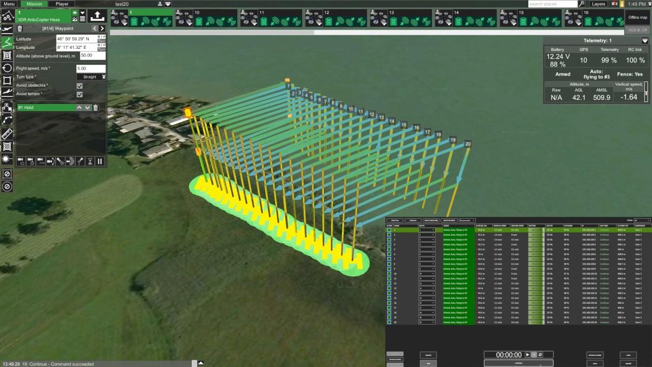 UgCS DDC controlling 20 drones (simulator)