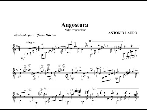 Partitura angostura de antonio lauro para guitarra cl sica for Partituras de guitarra clasica