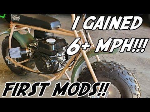 coleman mini bike ct200u stage 1 modifications intake custom exhaust carburetor governor removal