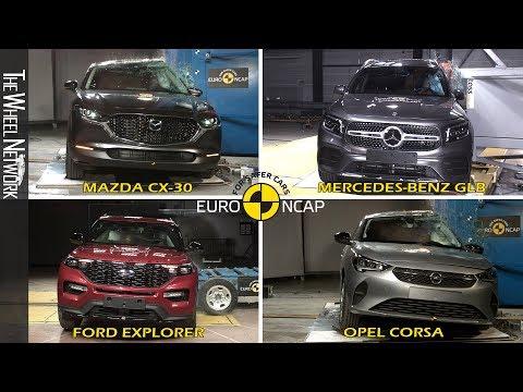 Euro NCAP Safety Tests Compilation – Ford Explorer, Mazda CX-30, Mercedes-Benz GLB, Opel Corsa