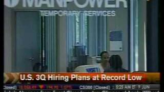 US 3Q Hiring Plans At Record Low - Bloomberg