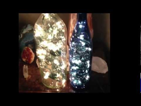 Pinterest DIY : Wine bottle filled with lights. AKA : Bottles filled with Fairies