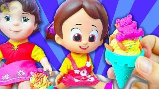 Niloya play dough Ice Cream castle with Peppee Heidi Niloya eats Ice Cream - Tontik TV