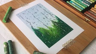 rainy day landscape scenery with oil pastel drawing 오일파스텔 비오는 날 풍경화 그림그리기