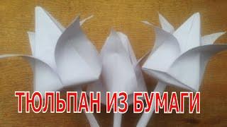 Как сделать тюльпан из бумаги. Оригами.