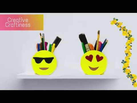 Best Out of Waste Craft | Smiley Pen Stand | Emoji Pen Stand DIY