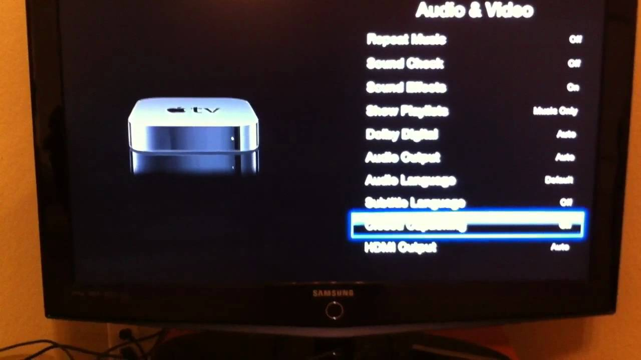 VoiceOver in action on Apple TV 2nd gen and activating capt