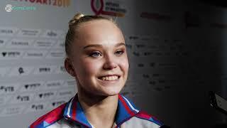 Angelina Melnikova (RUS) Interview 2019 Worlds Stuttgart - Women's Floor Final
