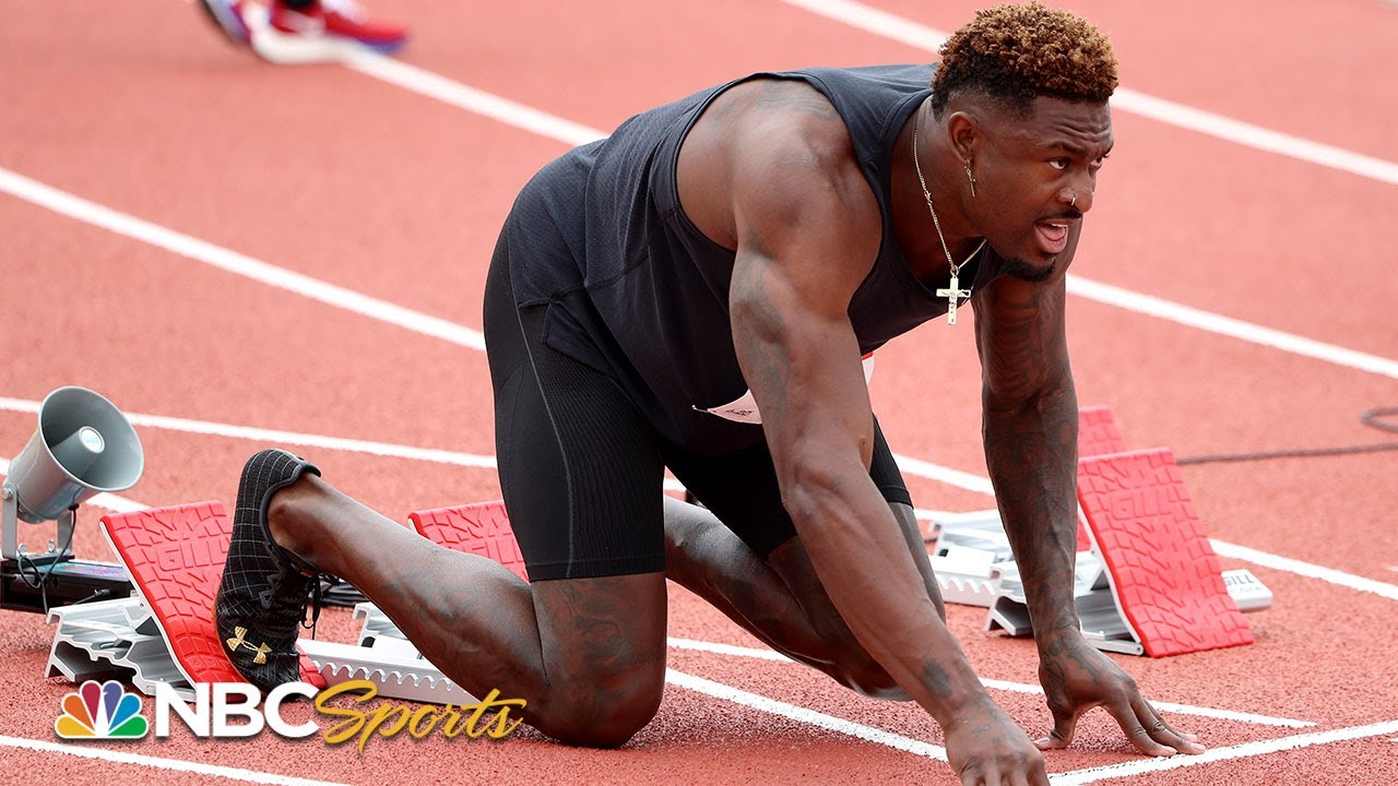 NFL wide receiver DK Metcalf holds his own on the track in 100 ...