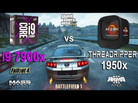 Ryzen Threadripper 1950x vs i9 7900x Test in 6 Games