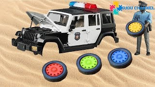 Assembling Police Cars for Kids | Tank defeat bad Dinosaurs rescue Contruction Vehicles|Kudu Kids TV