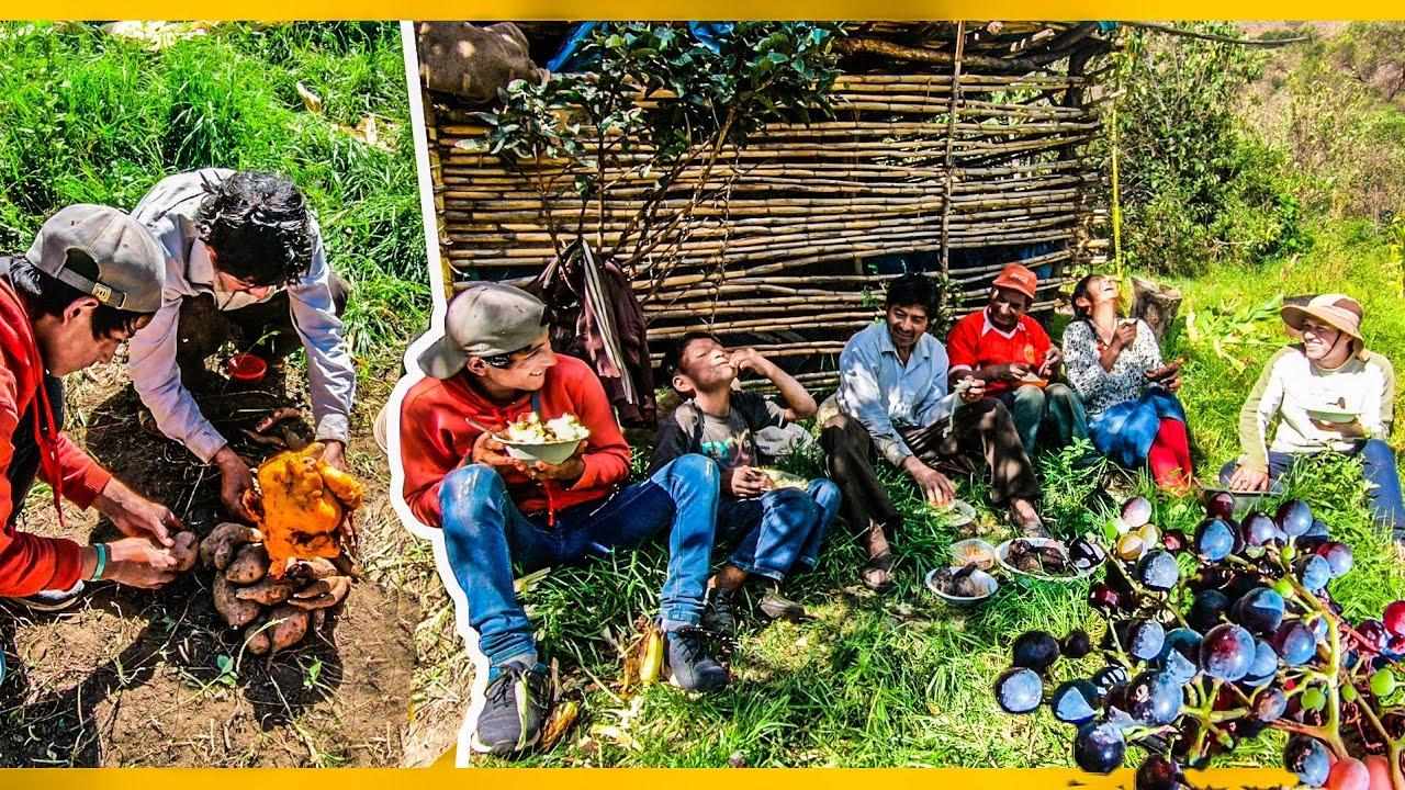 Preparamos POLLO A LA BRASA con CAMOTE, YUCA, CHOCLO y CAÑA DE AZUCAR en el CAMPO