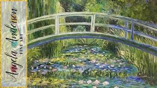 Monet Waterlilies Bridge (Part 1) Impressionist Acrylic Painting Tutorial LIVE