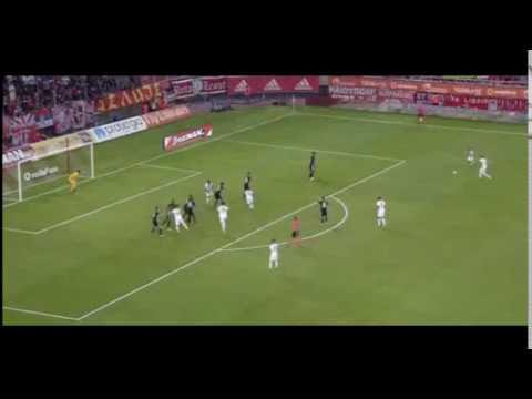 M. Carcela Amazing Free Kick Goal - Olympiakos Piraeus vs Partizan ( 1-0 )