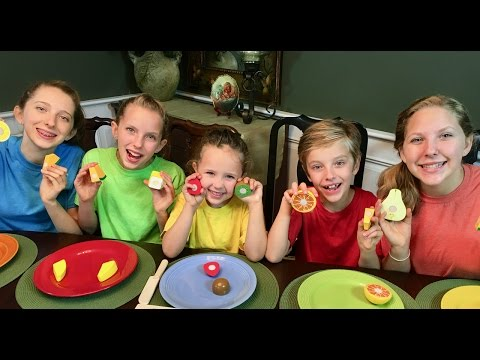Thumbnail: Learn English Colors for Kids! Pretend Play Wooden Velcro Fruit with Sign Post Kids!