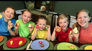 Learn English Colors for Kids! Pretend Play Wooden Velcro Fruit with Sign Post Kids!