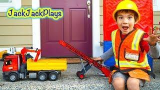 Kids Toy Trucks Surprise Unboxing - Bruder Conveyor Belt - Playing with Dump Trucks Digging