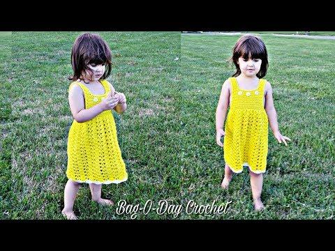 how-to-crochet-a-toddler-dress-|-lemon-meringue-dress-|-bagoday-crochet-tutorial-#494