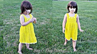 HOW TO CROCHET A TODDLER DRESS | LEMON MERINGUE  DRESS | BAGODAY CROCHET TUTORIAL  #494