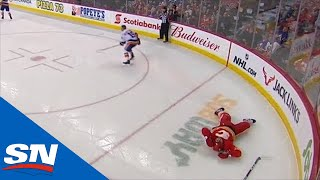 Cal Clutterbuck Drops Rasmus Andersson With Borderline Late Hit Against Boards
