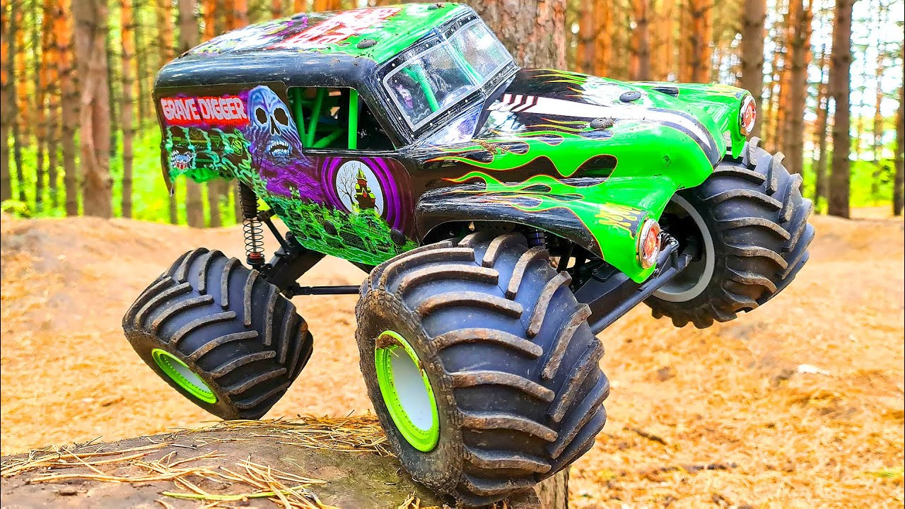 Monster Truck Grave Digger Back Flip, Jumps, Racing, Crashes, Action – RC Losi LMT