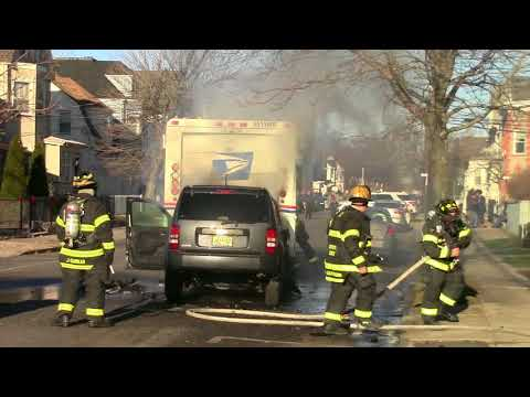 Kearny Fire Department Vehicle into back of US Mail Truck with Fire