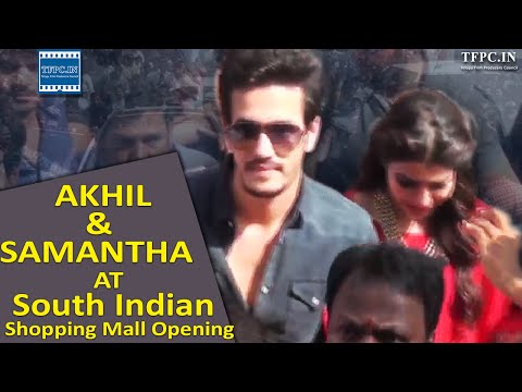 Akhil & Samantha At South Indian Shopping Mall Opening | TFPC