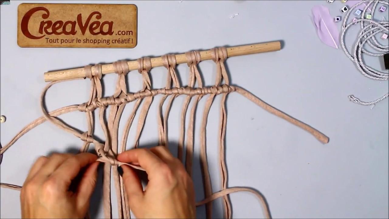 comment faire le noeud baguette oblique - macramécreavea