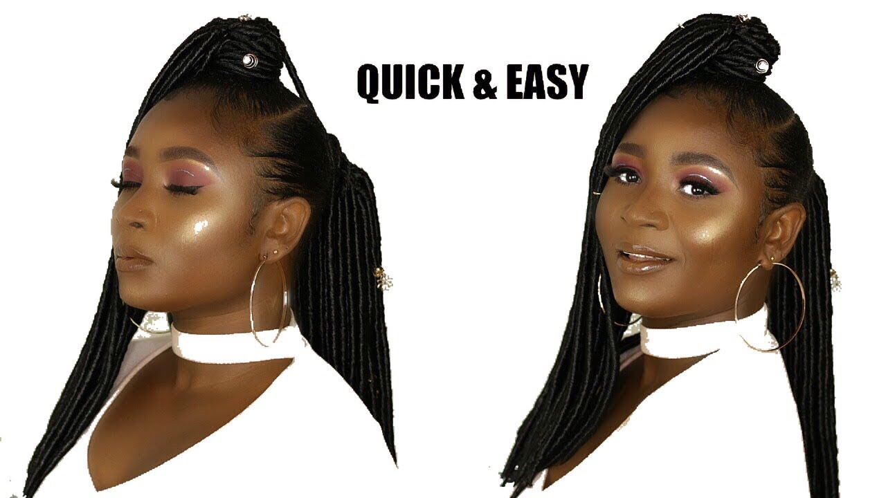 Half Up Half Down Ponytail With Locs Leeven Hair Omonicurls Youtube