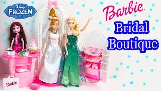 Barbie Doll Wedding Dress Up Boutique Playset with Disney Frozen Queen Elsa + Princess Anna Video