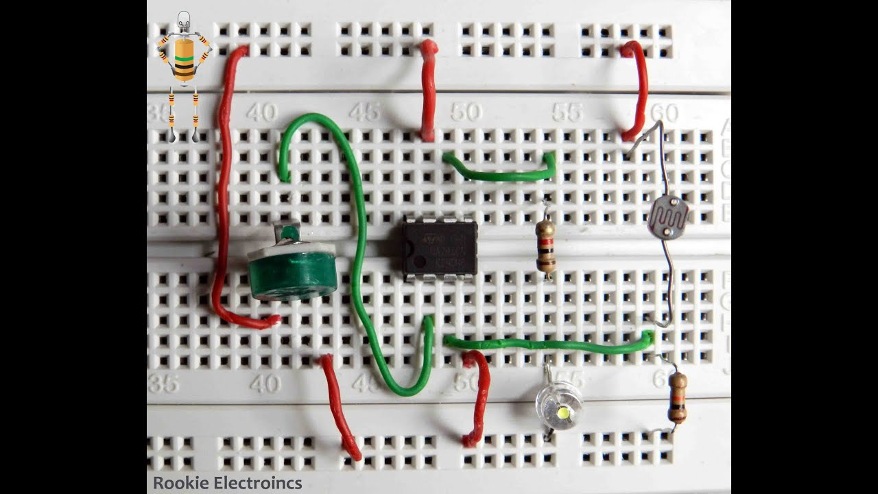 Light Sensor Circuit Using Ldr And 741 Opamp Comparator