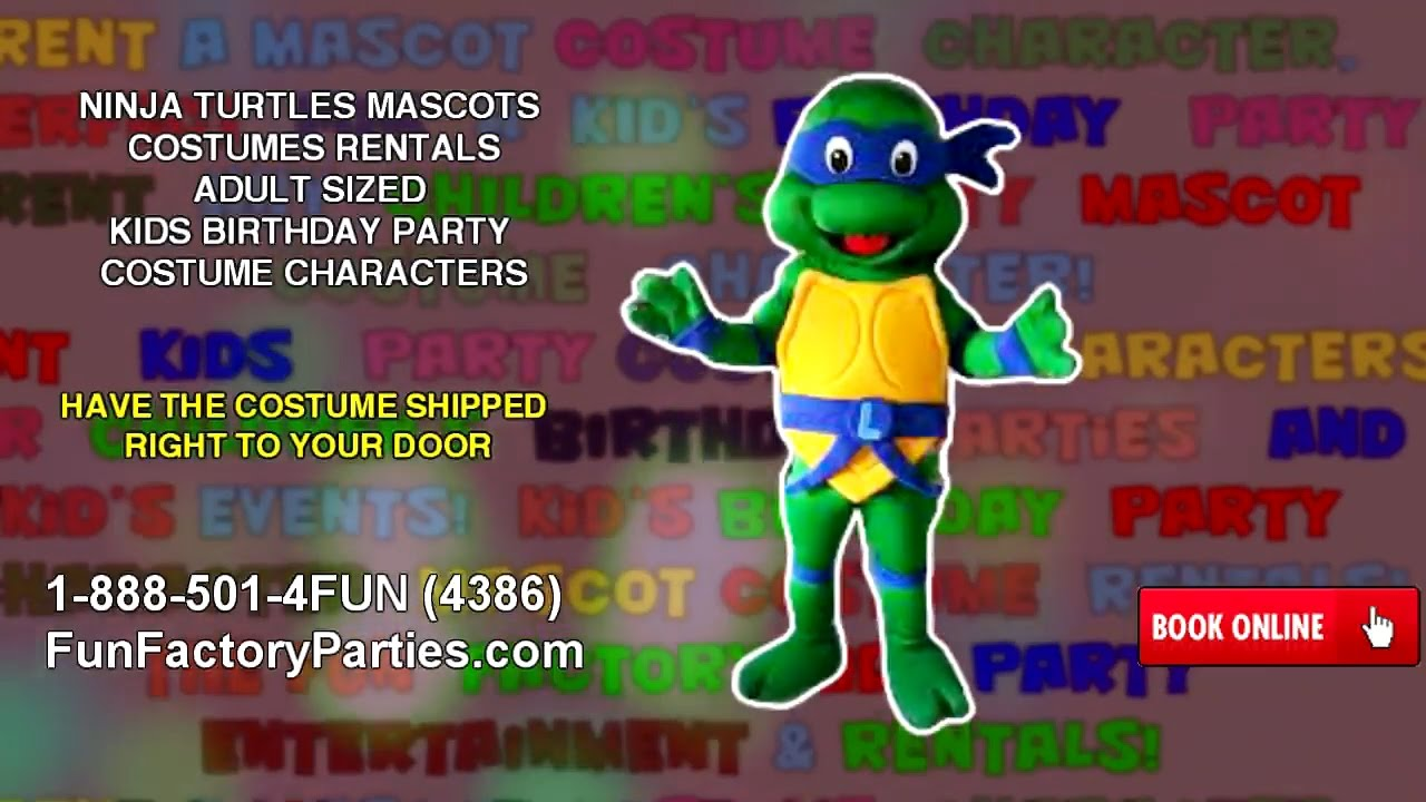 Bubble guppies character rental - Ninja Turtles Mascots Costumes Rentals Adult Sized Kids Birthday Party Costume Charactersvideo 16