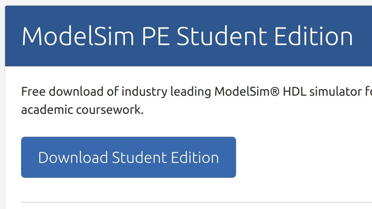 How to install ModelSim Student Edition