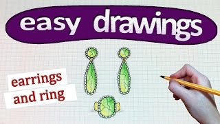 Easy drawings #246  How to draw a earrings and ring / drawings for beginners